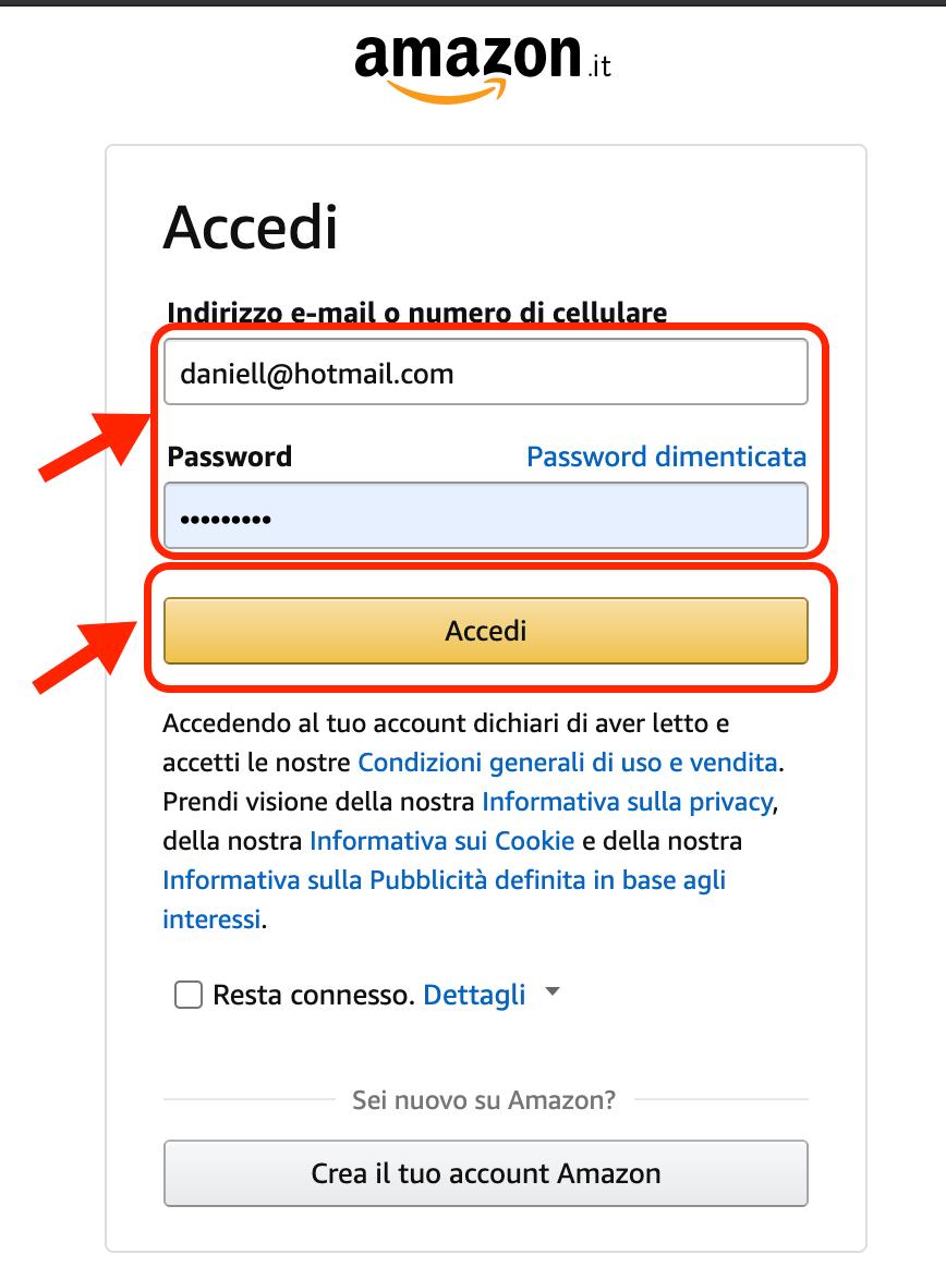 Eliminare Account Amazon