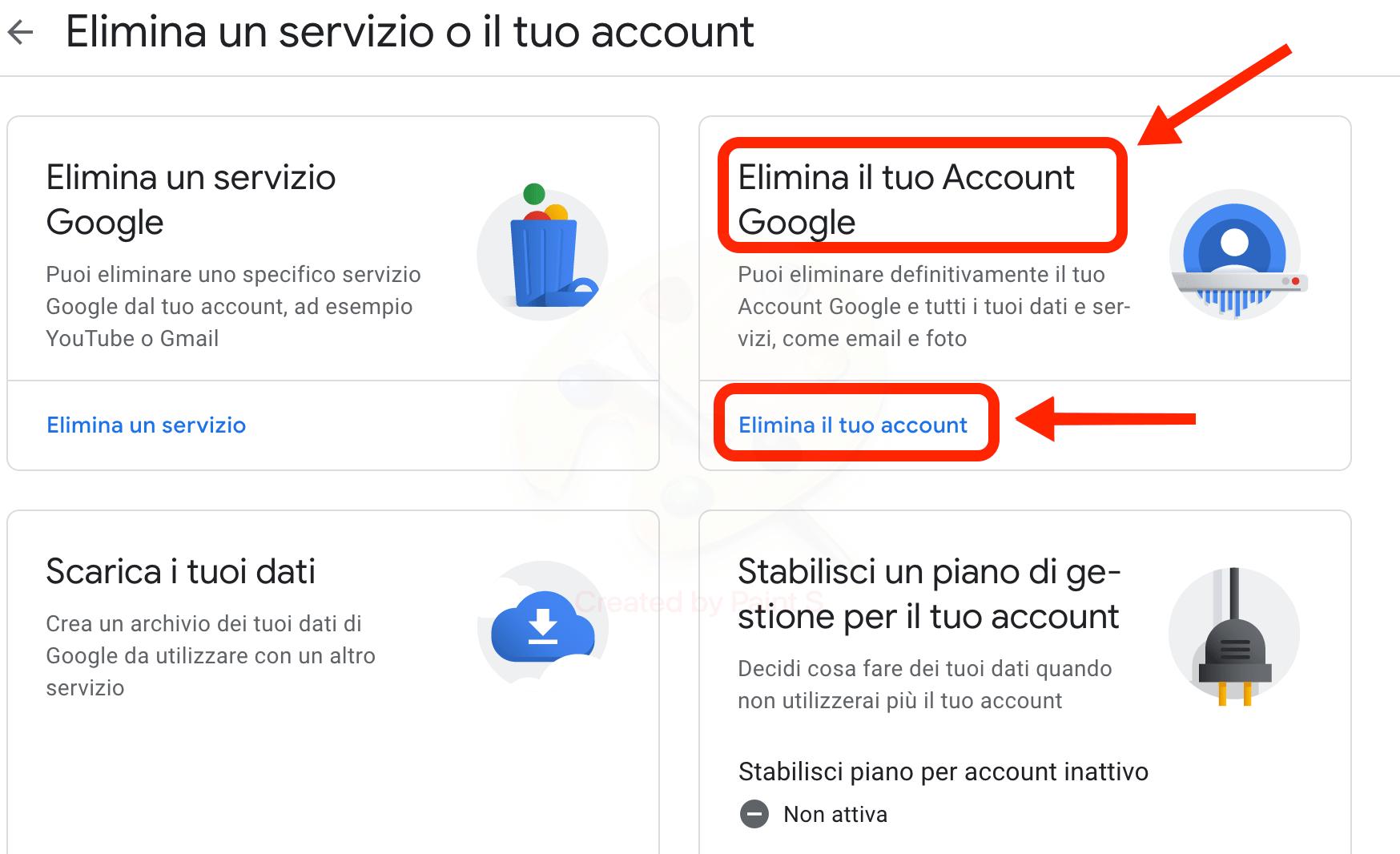 Cancellare Account Google