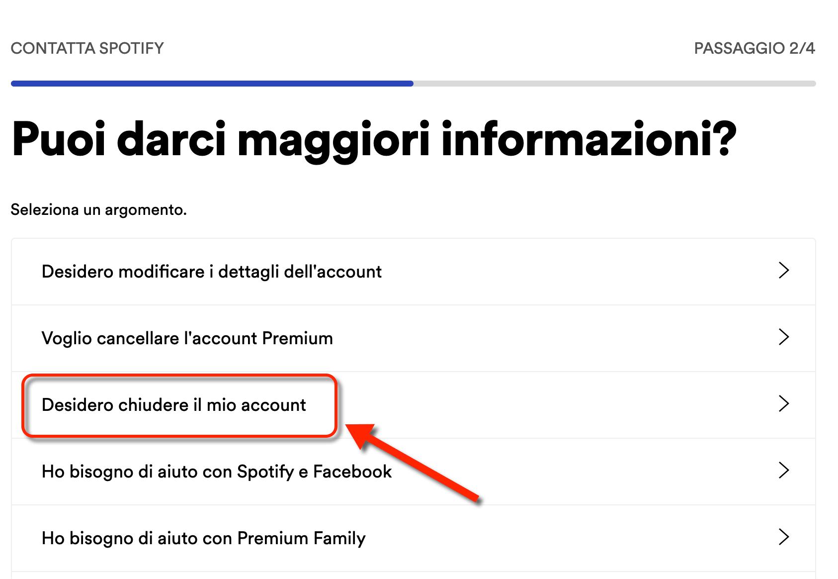 Eliminare Account Spotify