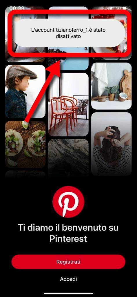 Disattiva Account Pinterest