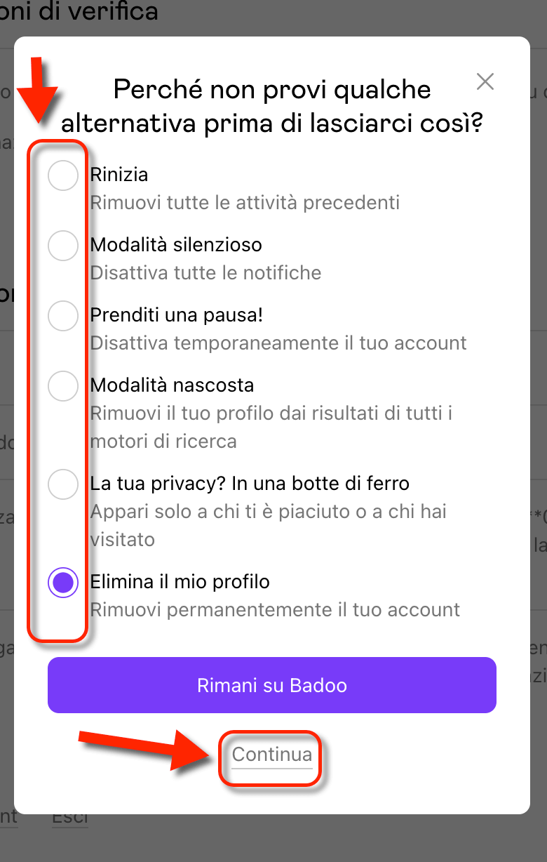 Eliminare Account Badoo