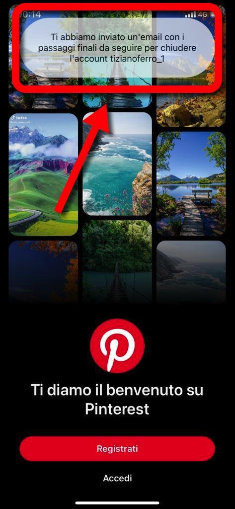 Eliminare Account Pinterest