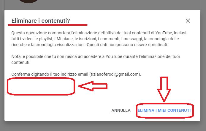 Eliminare Account Youtube